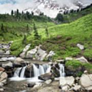Mt Rainier Paradise Portrait Art Print