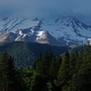 Mt Shasta Under Clouds - Panorama Art Print