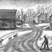 Muddy South Dakota Farmyard Art Print