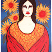 Mujer Con Flores Art Print