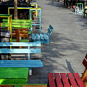 Multi-colored Benches On The Pedestrian Zone Art Print