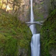 Multnomah Falls In Oregon State. Art Print