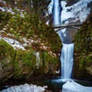 Multnomah Falls With Snow Art Print