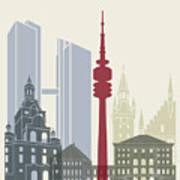 Munich Skyline Poster Art Print
