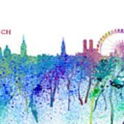 Munich Skyline Silhouette An Impressionistic Splash - Dream Cities Series Art Print