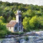 Munising Grand Island Lighthouse Upper Peninsula Michigan Pa 01 Art Print