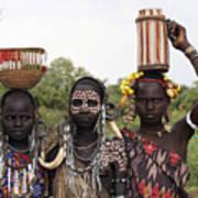 Mursi Tribesmen In Ethiopia Art Print
