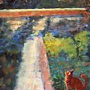 Museum Cat Enters The Picture After Georges Seurat Art Print