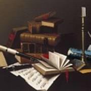 Music And Literature By William Michael Harnett Art Print