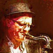 Music - Jazz Sax Player With A Hat Art Print