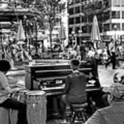Music On The Boston Common Boston Ma Black And White Art Print