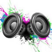 Music Speakers Colorful Design Art Print