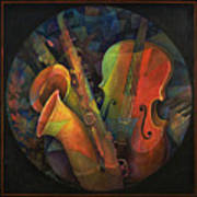 Musical Mandala - Features Cello And Sax's Art Print