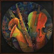 Musical Mandala - Features Cello And Sax's Art Print