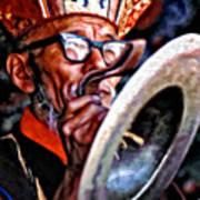 Musical Monk Watercolor Art Print