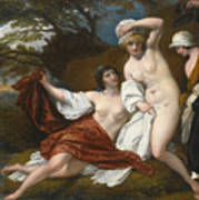 Musidora And Her Two Companions Sacharissa And Amoret At Their Bath Espied By Damon Art Print