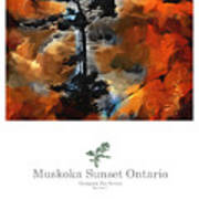 Muskoka Autumn Sunset Northern Ontario Poster Series Art Print