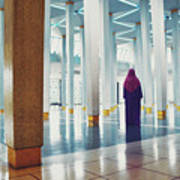 Muslim Woman Dressed In The Traditional Islam Clothing Standing Inside National Mosque In Malaysia Art Print