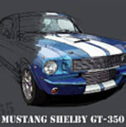 Mustang Shelby Gt-350, Blue And White Classic Car, Gift For Men Art Print