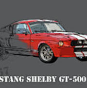 Mustang Shelby Gt500 Red, Handmade Drawing, Original Classic Car For Man Cave Decoration Art Print