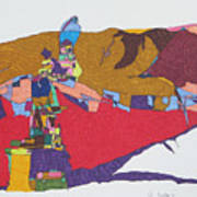 Mustang Tibetan Hawk And Prayer Flags Art Print