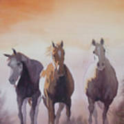 Mustangs Out Of The Fire Art Print