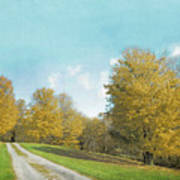 Mustard Yellow Trees And Landscape Art Print