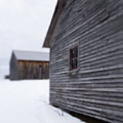 Musterfield Farm North Sutton Nh Old Buildings In The Snow Art Print