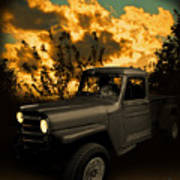 My 51 Willys Jeep Pickup Truck At Sunset Art Print