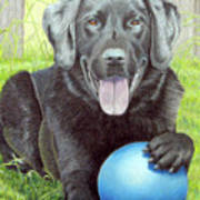 My Big Blue Ball Art Print