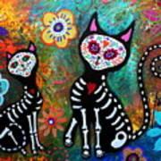 My Cats Dia De  Los Muertos Art Print