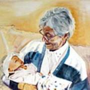 my granddaughter Leonie with her great grandmum Art Print