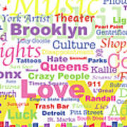 My New York In Words Art Print by Kristi L Randall