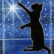My Shinning Star - Christmas Cat Art Print