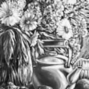 My Tea Kettle Black And White Art Print