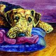 My Teddy Airedale Terrier Art Print by Lyn Cook