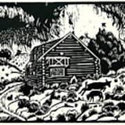 My Wyoming Cabin In Winter Art Print