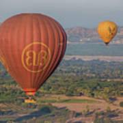 Myanmar. Bagan. Hot Air Balloons. In The Air. Art Print