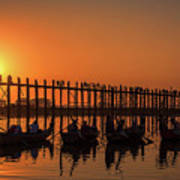 Myanmar. Taungthaman Lake. U Bein Bridge. Sunset. Art Print