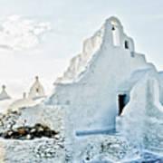 Mykonos Church In White Art Print