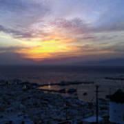 Mykonos Sunset Greece Art Print