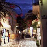 Mykonos Town At Night Art Print