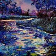 Mysterious Blue Pond Art Print