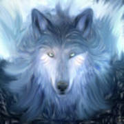 Mysterious Wolf Hand Painted Art Print