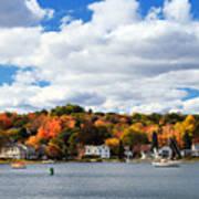 Mystic River In Autumn Art Print