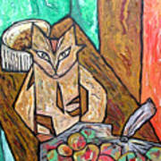 Naive Cat With Apples Art Print