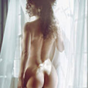 Naked Back Of A Beautiful Half Nude Woman Standing By The Window Art Print