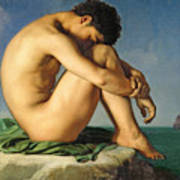 Naked Young Man Sitting By The Sea, 1836 Art Print