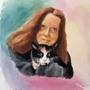 Nandi And Her Cat Art Print