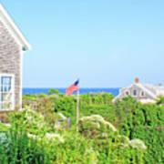 Nantucket Cottages Overlooking The Sea Art Print